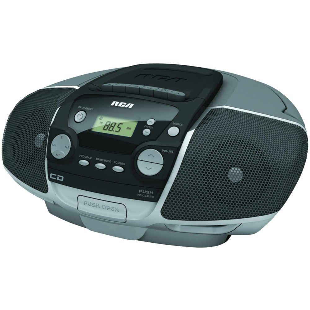 Portable CD Boom Box With Cassette Player
