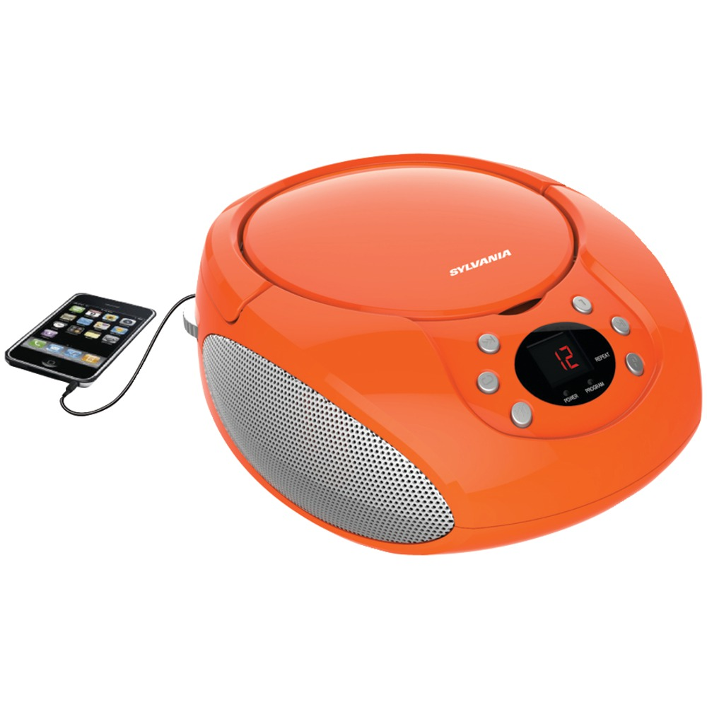 sylvania srcd261 b orange portable cd player with am fm radio orange. Black Bedroom Furniture Sets. Home Design Ideas