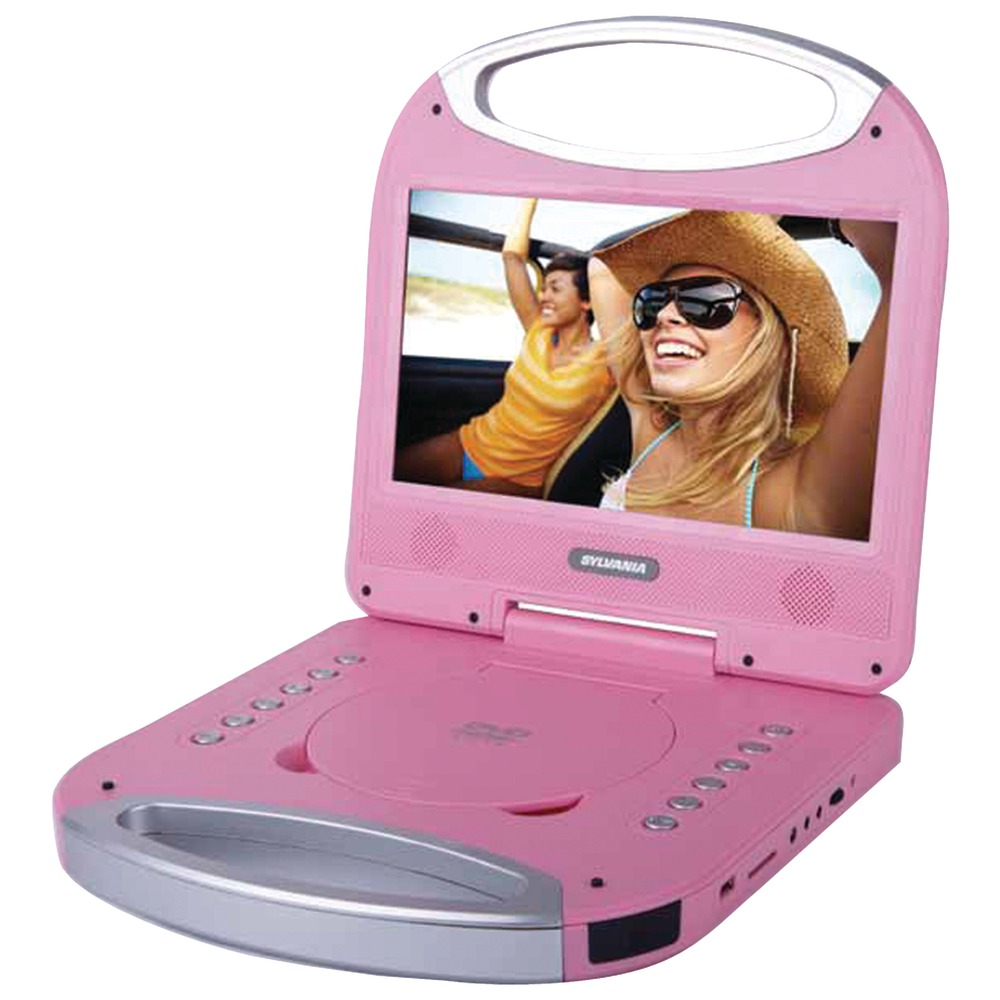 sylvania sdvd1052 pink 10 portable dvd player with integrated handle pink. Black Bedroom Furniture Sets. Home Design Ideas
