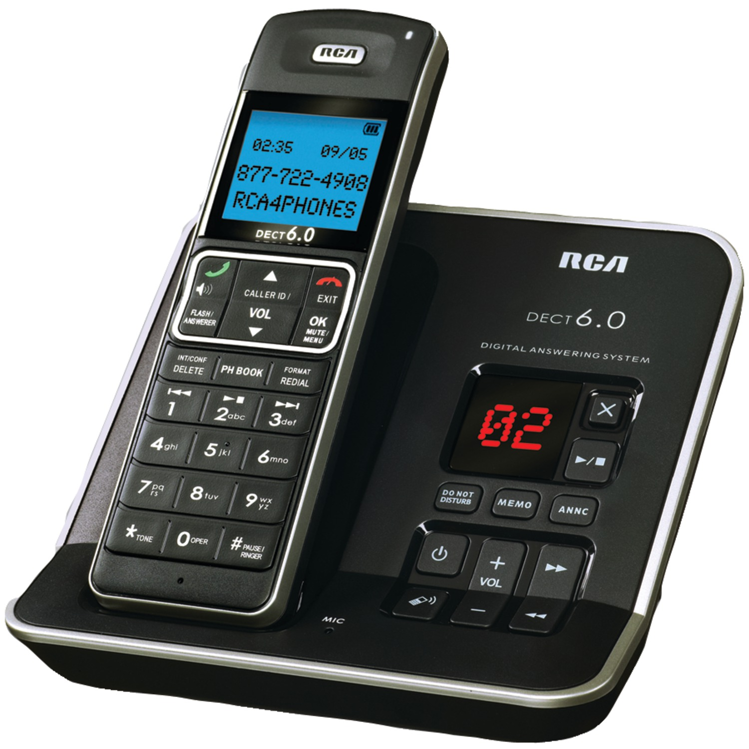 RCA 2112-1BSGA DECT 6 0 Digital Cordless Phone with Caller ID & Digital  Answering System (Single-Handset System)