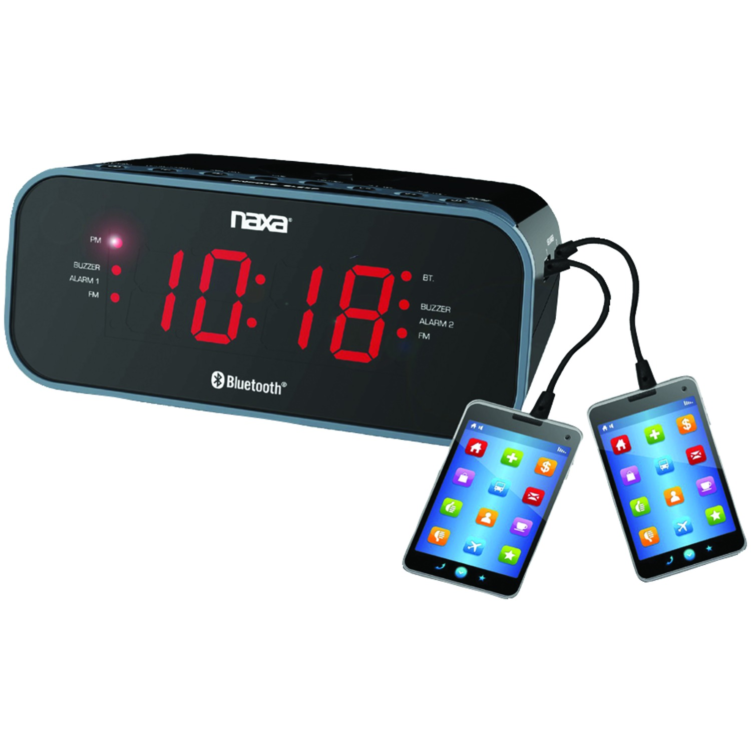 naxa nrc 182 bluetooth r dual alarm clock radio with 2 usb charge ports. Black Bedroom Furniture Sets. Home Design Ideas