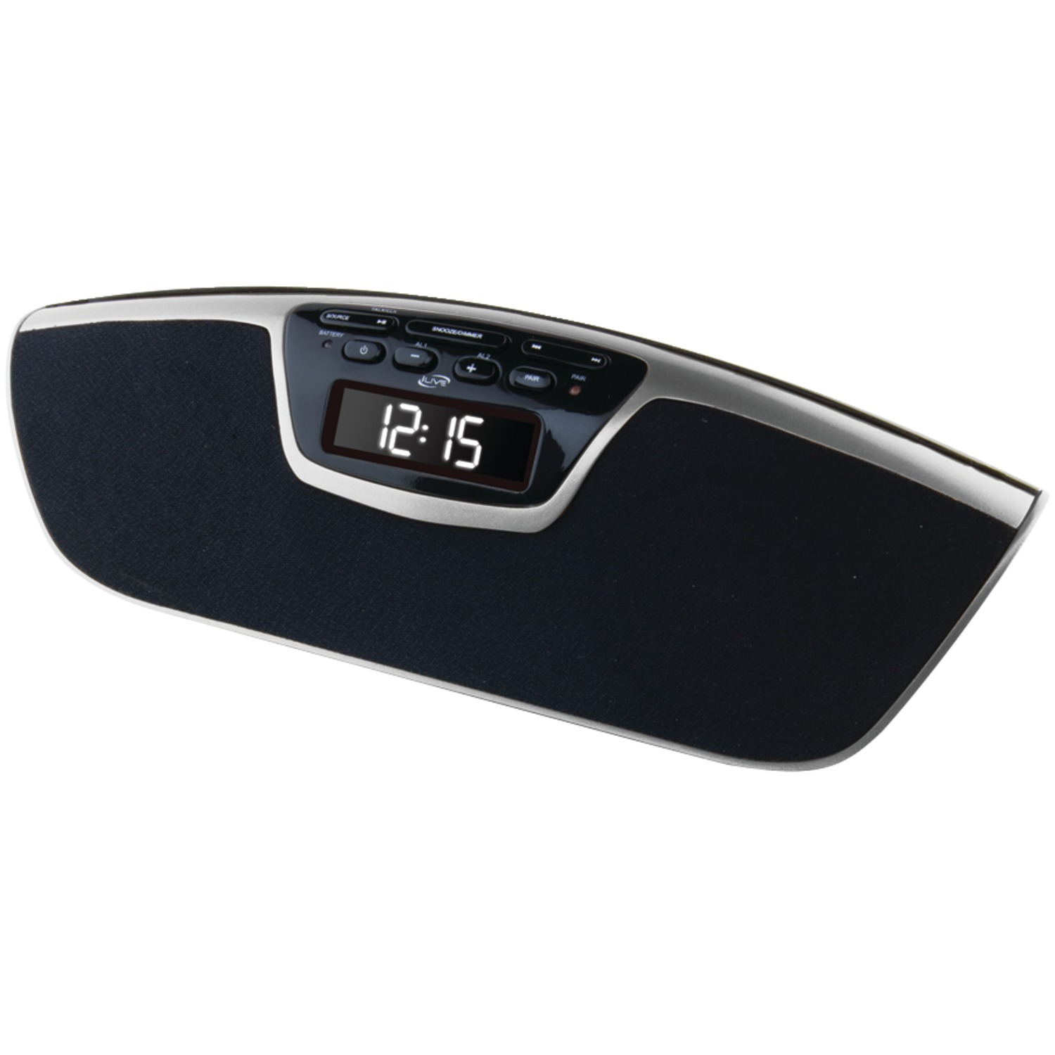 ilive icb213s bluetooth r dual alarm clock radio with speakerphone. Black Bedroom Furniture Sets. Home Design Ideas