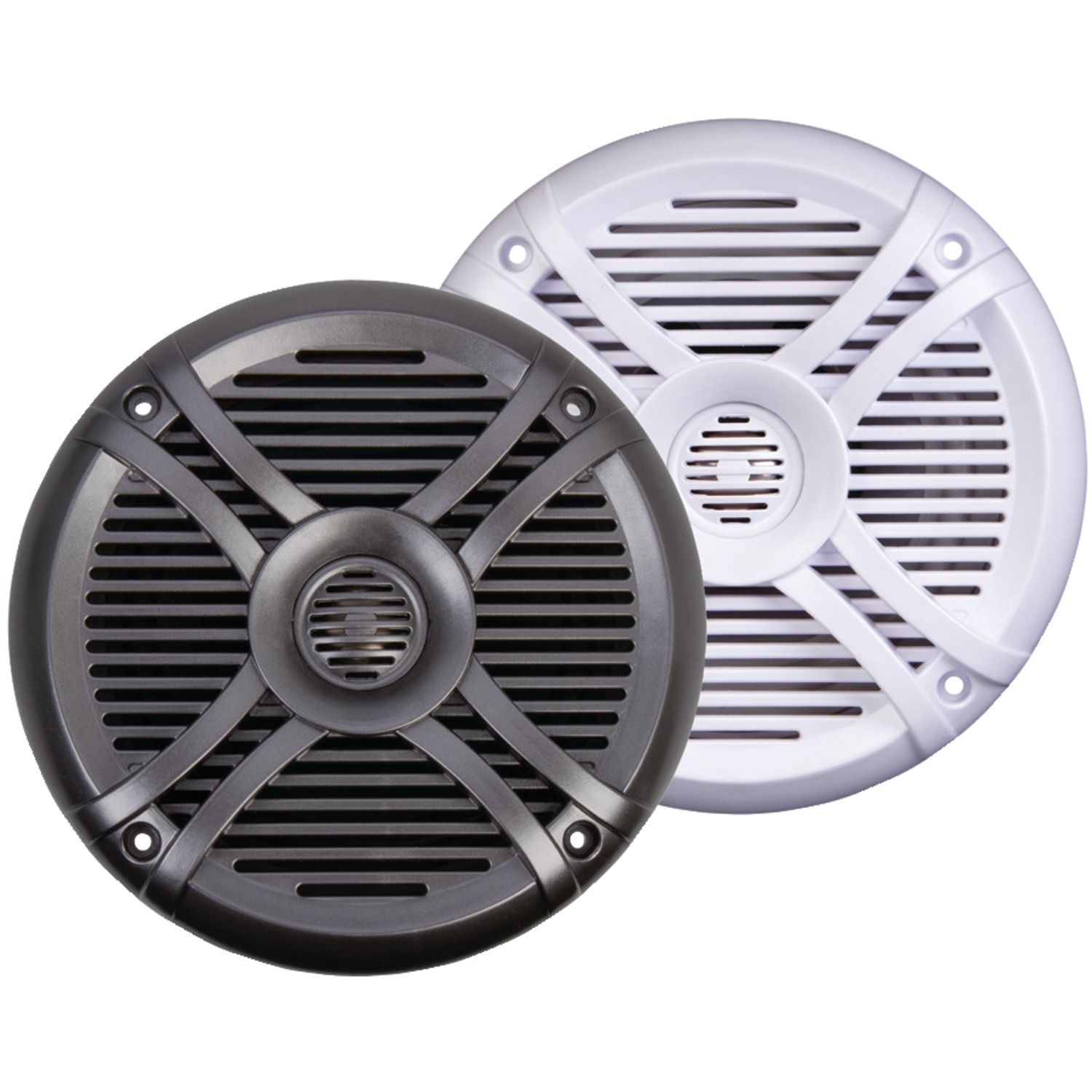 POWER ACOUSTIK MF 65WT Marine-Grade 6 5 Inch  300-Watt Coaxial Speaker with  White & Titanium Grilles