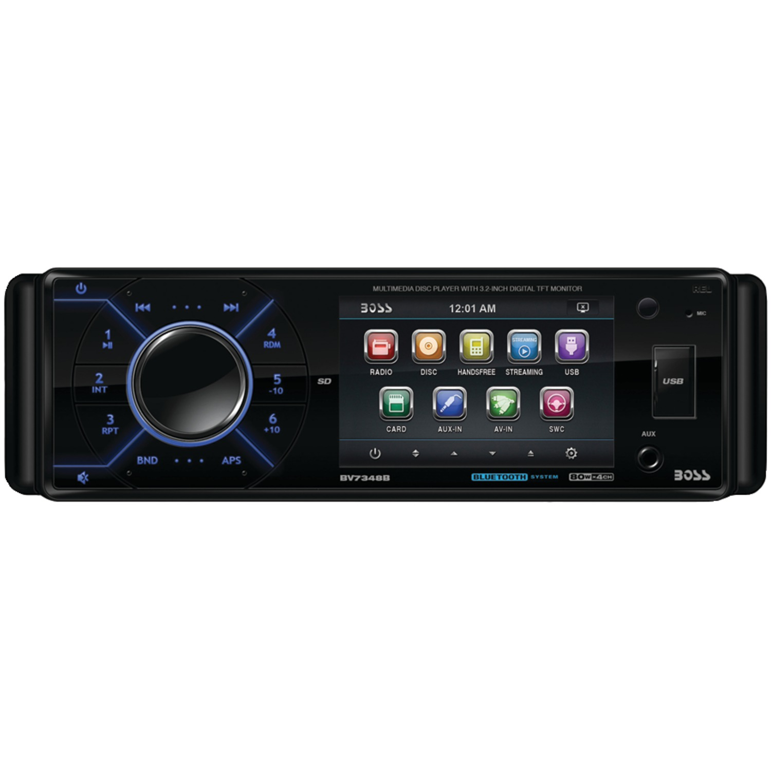 Boss Bv9538b Double Din Bluetooth Dvd Car Stereo Receiver: 3.2 Inch. Single-DIN In-Dash DVD