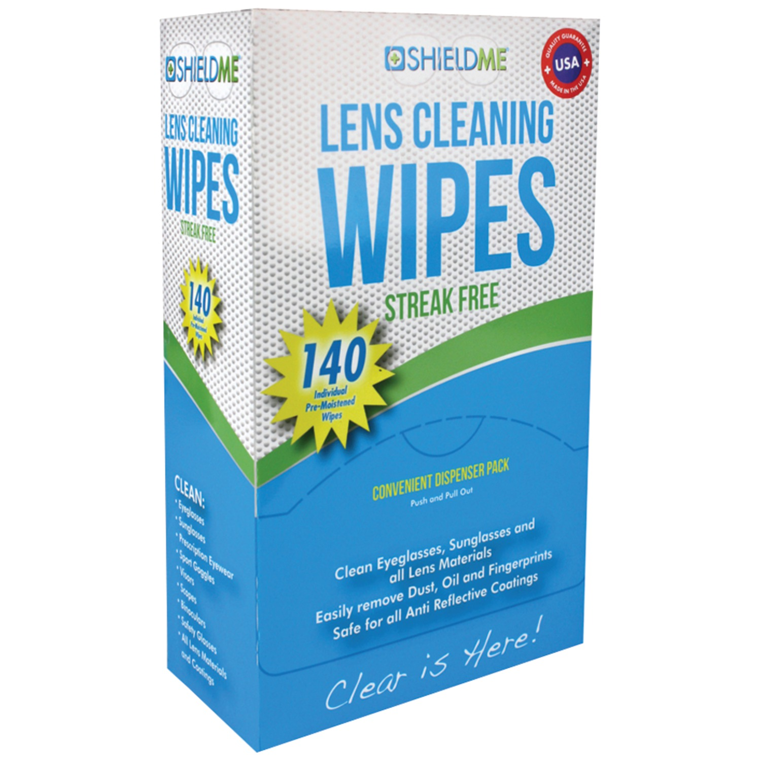 SHIELDME 6140   Lens Cleaning Wipes 140 ct