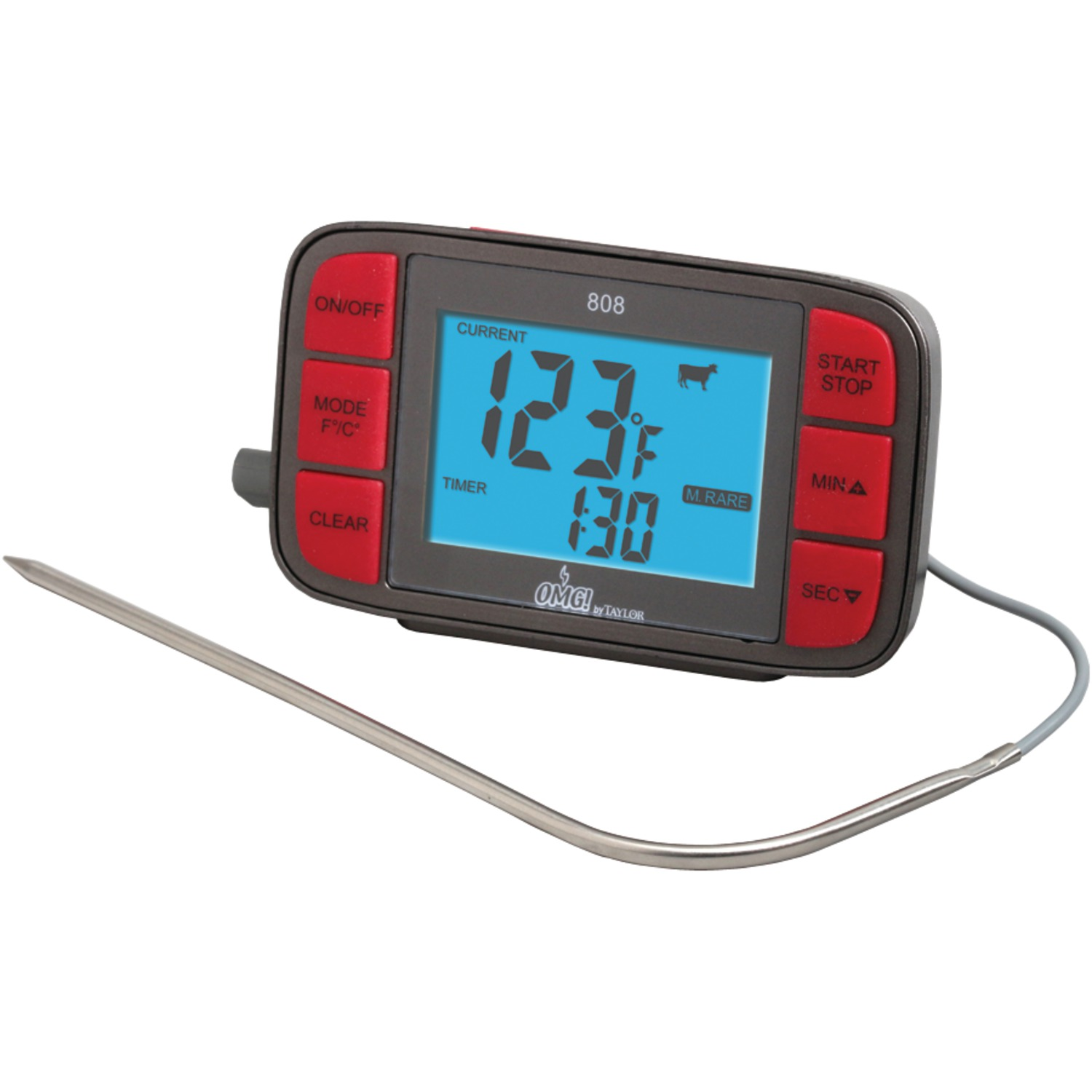 taylor 808omg digital grill thermometer with probe timer. Black Bedroom Furniture Sets. Home Design Ideas