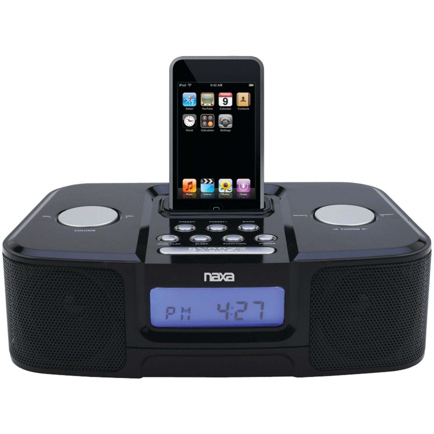 naxa ni3103a digital alarm clock radio with iphone r ipod r dock. Black Bedroom Furniture Sets. Home Design Ideas