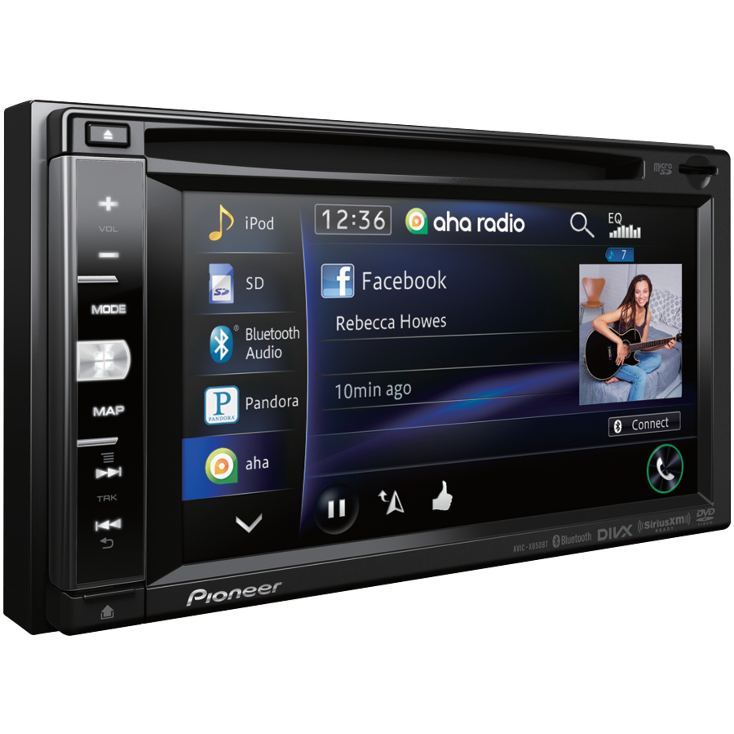 pioneer avic x850bt 6 1 double din in dash dvd navigation a v receiver with bluetooth r. Black Bedroom Furniture Sets. Home Design Ideas