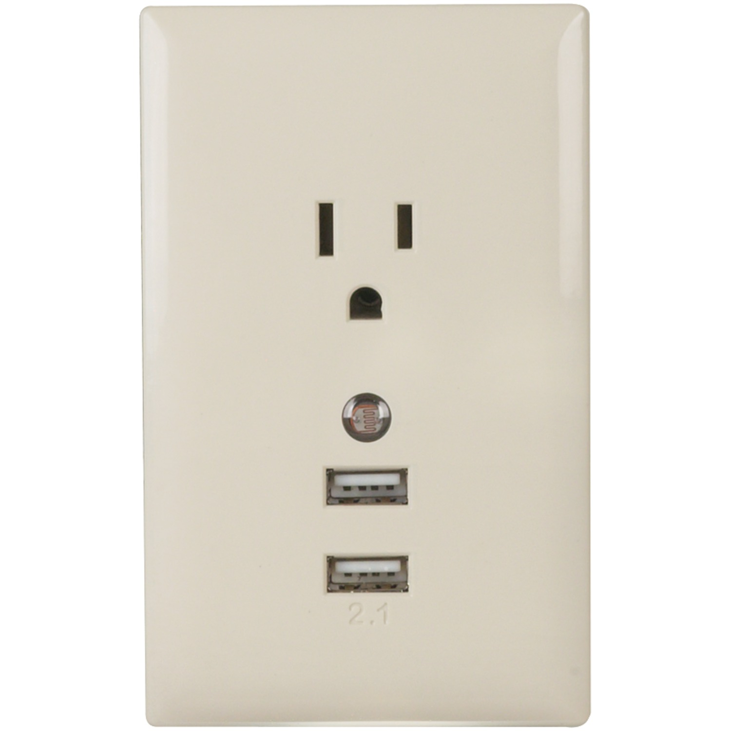 Wall Lamp With Usb Charger : RCA WP2UNLA Wall Plate USB Charger with Night Light (Almond)