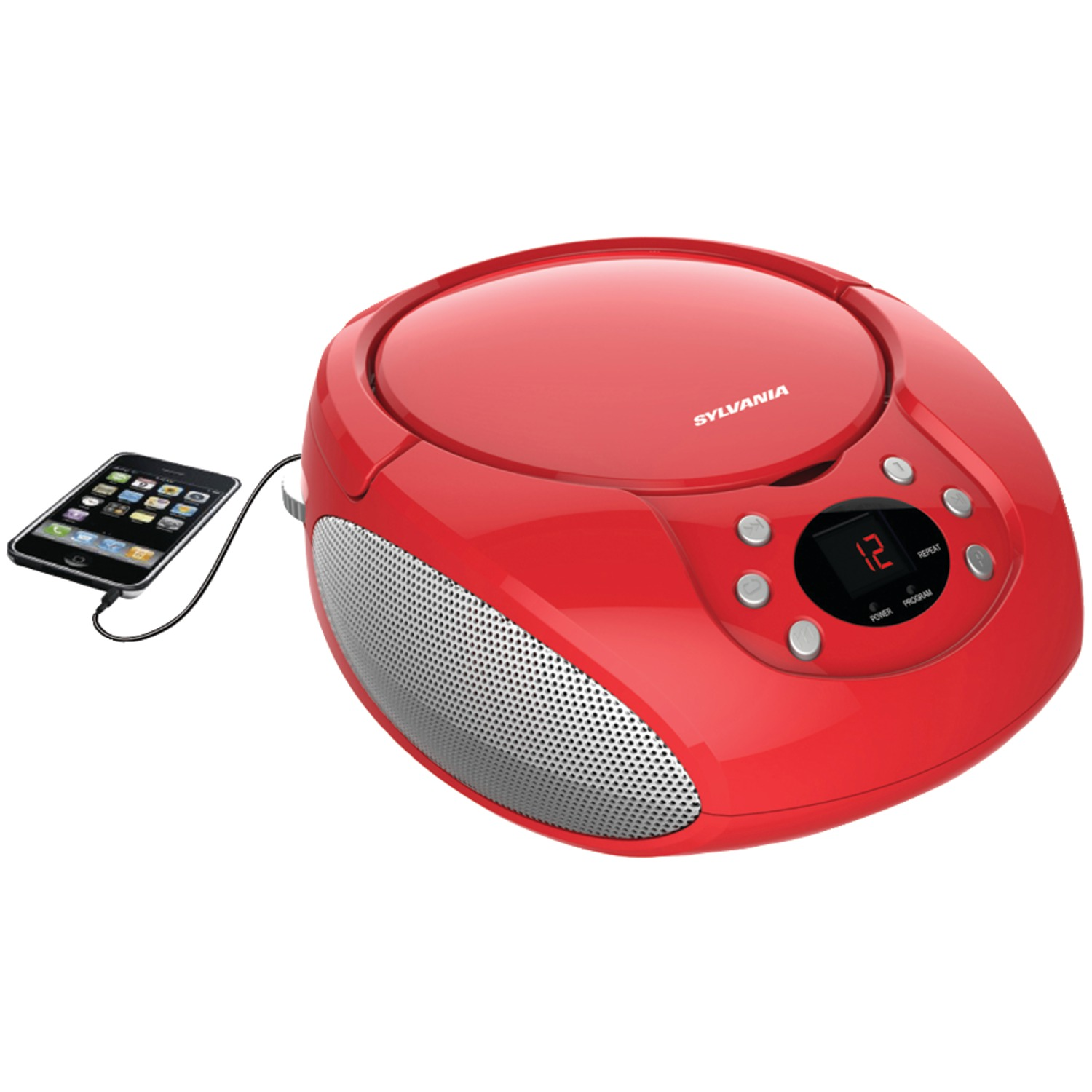 sylvania srcd261 b red portable cd player with am fm radio red. Black Bedroom Furniture Sets. Home Design Ideas