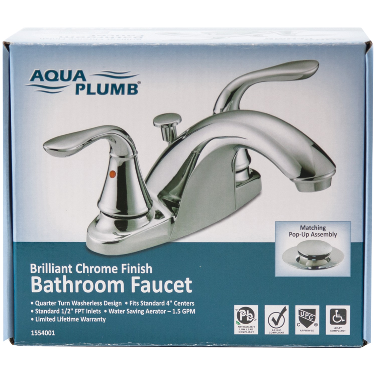 Charmant AQUA PLUMB 1554001 Premium Chrome Plated 2 Handle Bathroom Faucet