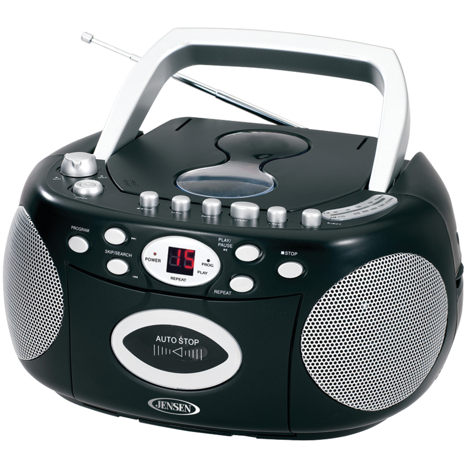 jensen cd 540 r refurbished portable stereo cd player with cassette am fm radio. Black Bedroom Furniture Sets. Home Design Ideas