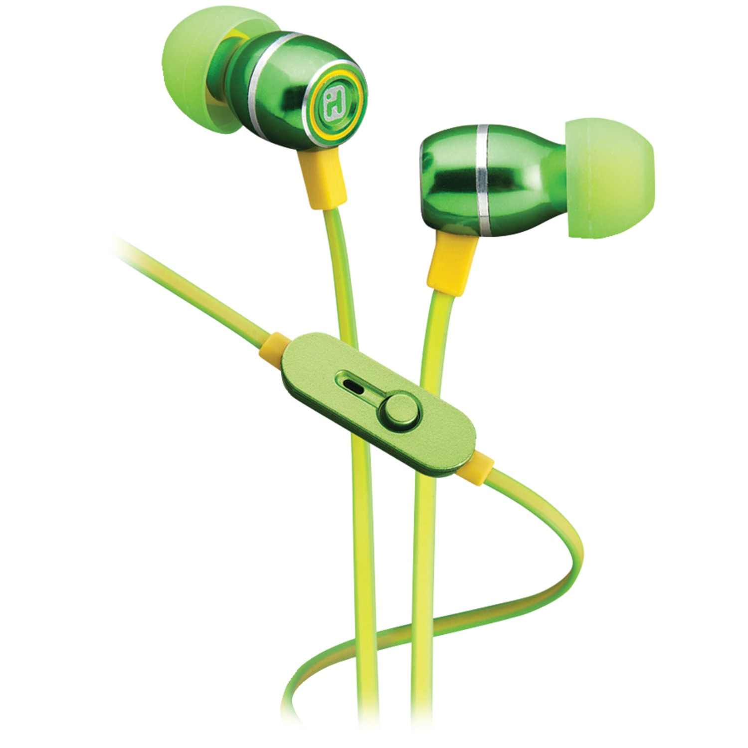 7f85d32738b IHOME IB18QY | Noise-Isolating Metal Earbuds with Microphone (Lemon-Lime)