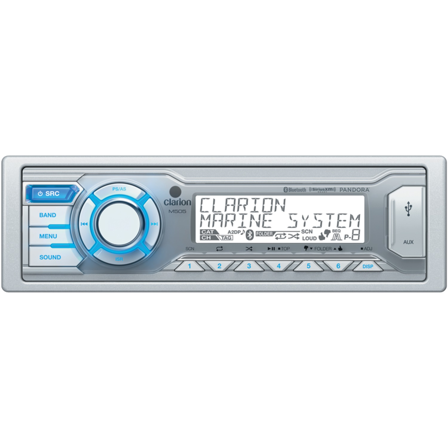 CLARION M505 Marine Single-DIN In-Dash USB/MP3/WMA Receiver with