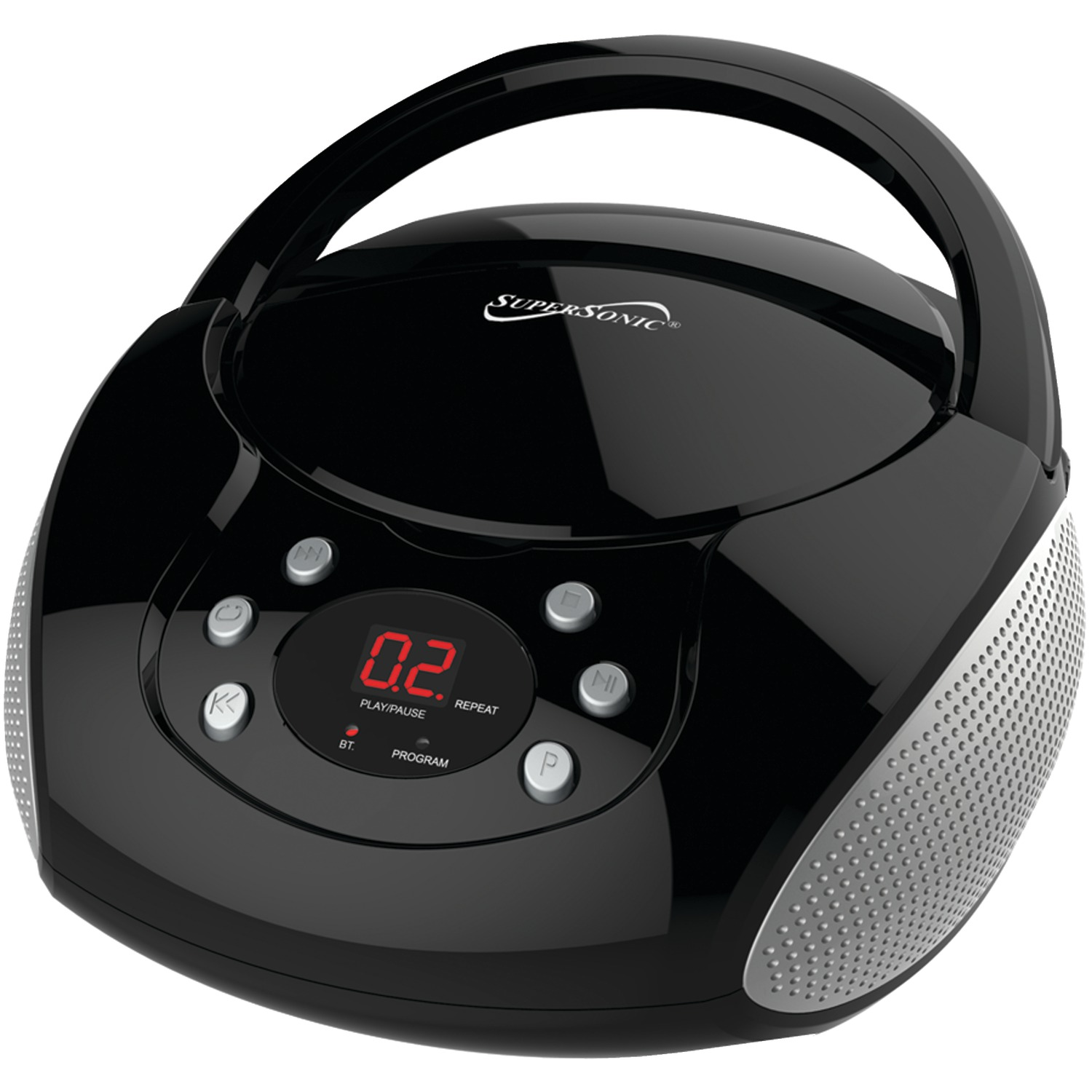 supersonic sc 515bt blk bluetooth r portable audio system with cd player black. Black Bedroom Furniture Sets. Home Design Ideas