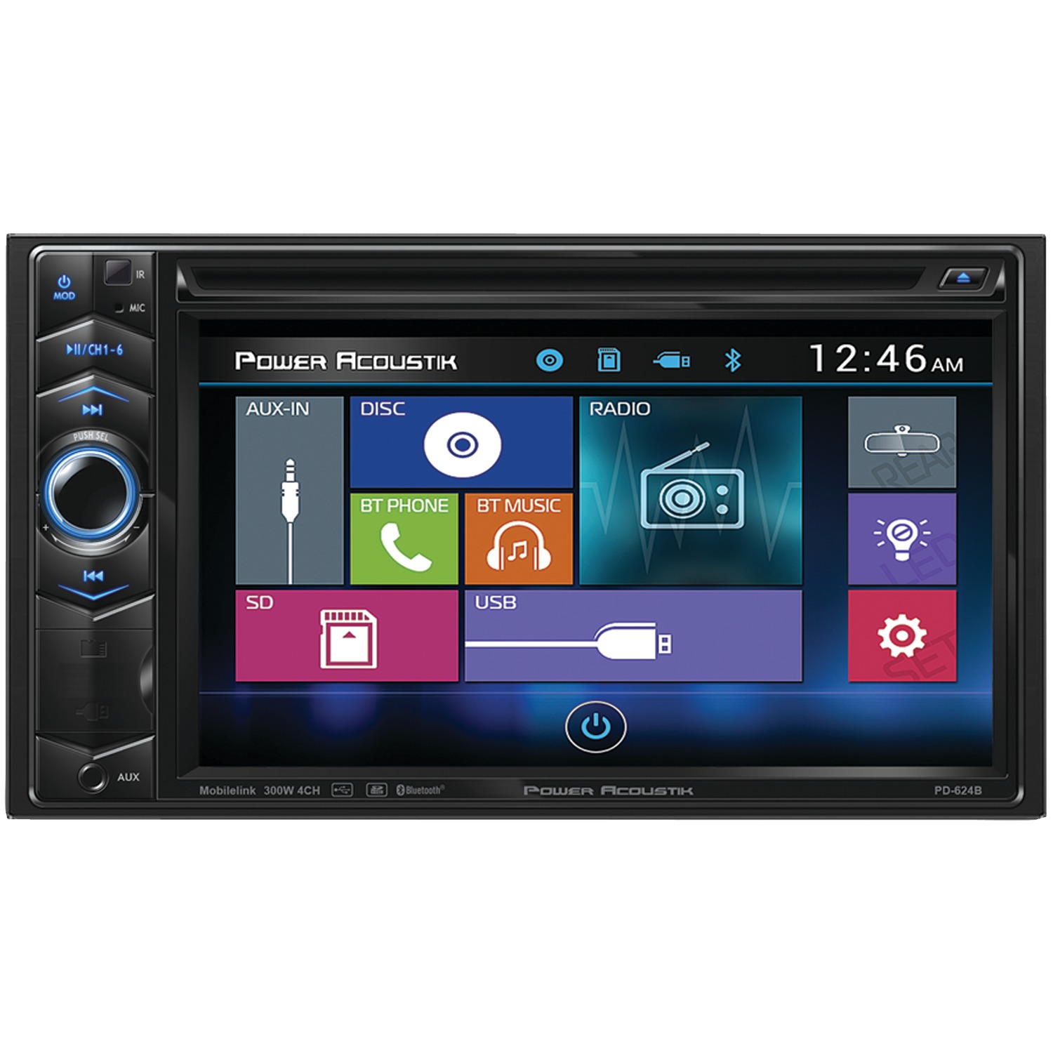 power acoustik pd 624b 6 2 double din in dash lcd. Black Bedroom Furniture Sets. Home Design Ideas