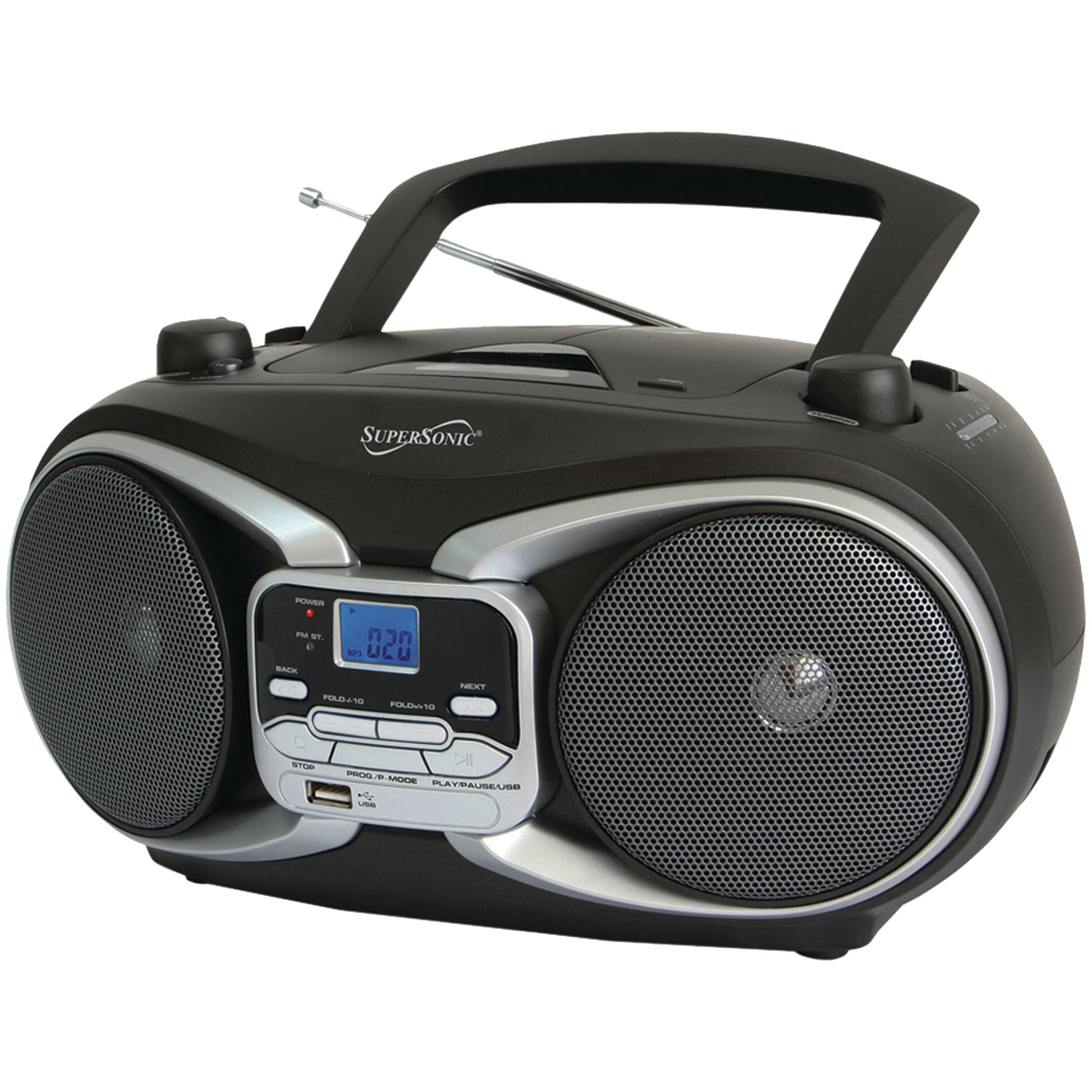 supersonic sc 504 silver portable mp3 cd player with. Black Bedroom Furniture Sets. Home Design Ideas