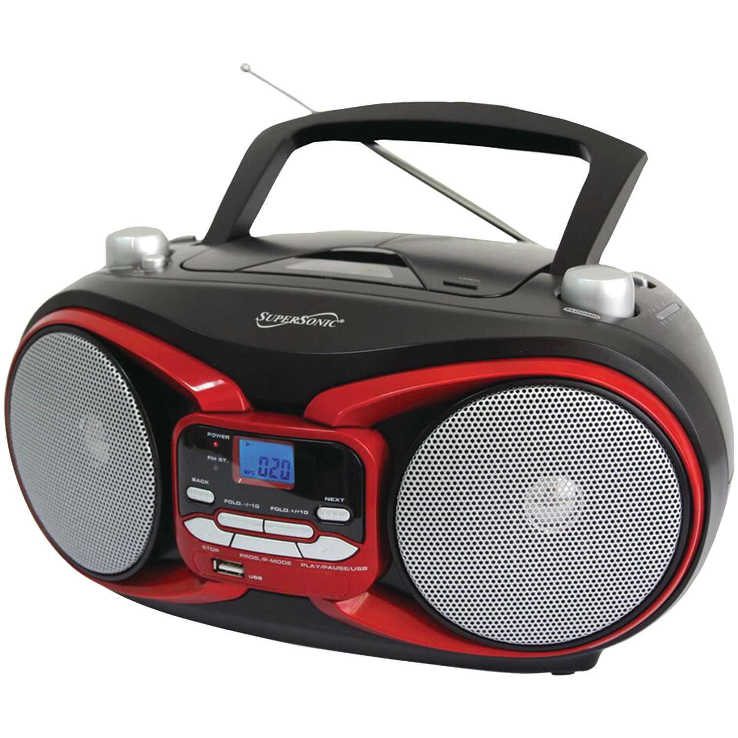 supersonic sc 504 red portable mp3 cd player with am fm radio red. Black Bedroom Furniture Sets. Home Design Ideas
