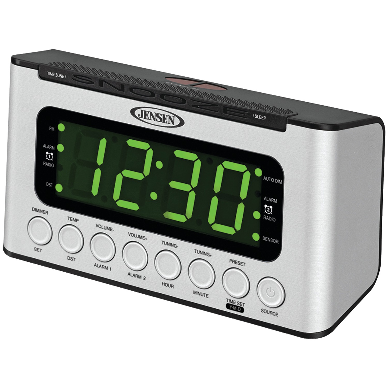 jensen jcr 231 digital am fm dual alarm clock radio with wave sensor. Black Bedroom Furniture Sets. Home Design Ideas