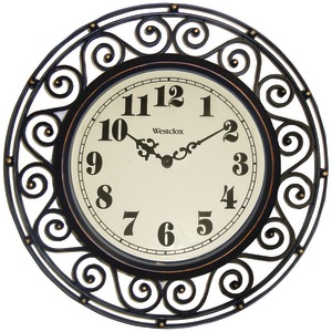 WESTCLOX 12 Inch. Round Filigree Rubbed Bronze Finish Clock 32021