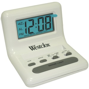 WESTCLOX .8'' White LCD Alarm Clock with Light on Demand 47539
