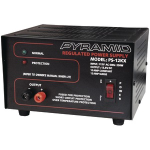 PYRAMID Power Supply (115V AC 60Hz 250 Watts Input 10A constant-12A surge Dim: 4.72 Inch.H x 7.87 Inch.W x 7.16 Inch.D) PS12KX