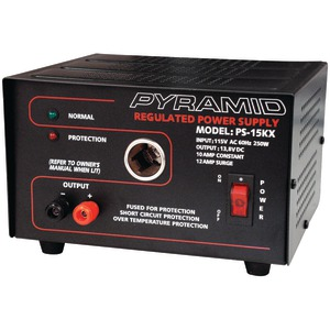 PYRAMID 10-Amp 13.8-Volt Power Supply with Car-Charger Adapter PS15K