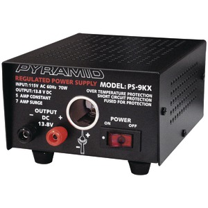 PYRAMID Power Supply (115V AC 60Hz 70 Watts input 5A constant-7A surge Dim: 3 Inch.H x 7.48 Inch.W x 4.92 Inch.D) PS9KX