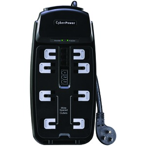 CYBERPOWER 8-Outlet Surge Protector with Telephone/DSL/Fax Protection, 6ft Cord CSP806T