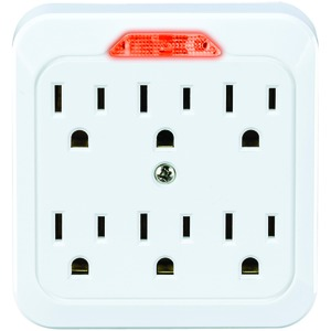 CYBERPOWER 6-Outlet Guide-Light Wall Tap GT600L