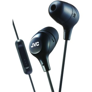 JVC Marshmallow(R) Inner-Ear Headphones with Microphone (Black) HAFX38MB