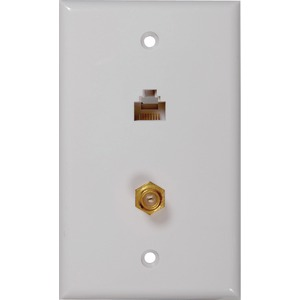 RCA CAT-5-6 F & Coaxial Connector Wall Plate TPH557R