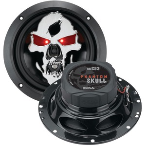 Phantom Skull 3-Way Black Injection Cone Speakers with Custom-Tooled Skull Cover (6.5 Inch.)
