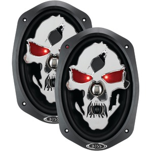 Phantom Skull 3-Way Black Injection Cone Speakers with Custom-Tooled Skull Cover (6 Inch. x 9 Inch.)