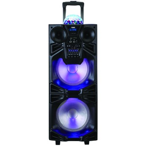 NAXA Dual 10 inch. Portable Bluetooth(R) DJ/PA Speaker Stack with Disco Dome Light NDS-1050