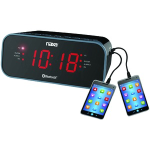 NAXA Bluetooth(R) Dual Alarm Clock Radio with 2 USB Charge Ports NRC-182