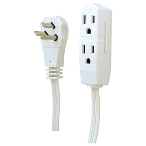 GE 3-Outlet Grounded Office Cord 8ft (White) 50669