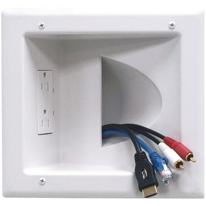 Recessed Low-Voltage Media Plate with Duplex Receptacle
