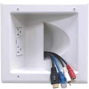 DATACOMM ELECTRONICS Recessed Low-Voltage Media Plate ;with Duplex Surge Suppressor 45-0041-WH