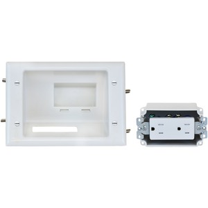 DATACOMM ELECTRONICS Recessed Low-Voltage Mid-Size Plate 45-0071-WH