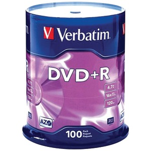VERBATIM 4.7GB DVD+Rs (100-ct Spindle) 95098
