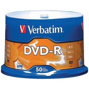 VERBATIM 4.7GB DVD-Rs (50-ct Spindle) 95101