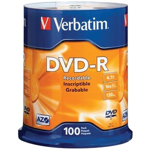 VERBATIM 4.7GB DVD-Rs (100-ct Spindle) 95102