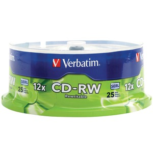 VERBATIM 700MB 80-Minute 4x - 12x High-Speed CD-RWs 25-ct Spindle 95155