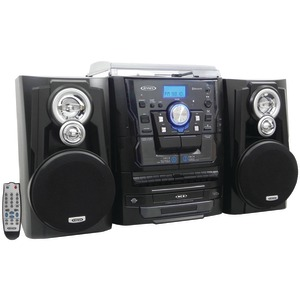 JENSEN Bluetooth(R) 3-Speed Stereo Turntable Music System with 3-CD Changer & Dual Cassette Deck JMC-1250