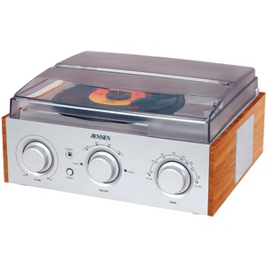 JENSEN Stereo 3-Speed Turntable with AM-FM Receiver & 2 Built-in Speakers JTA-220