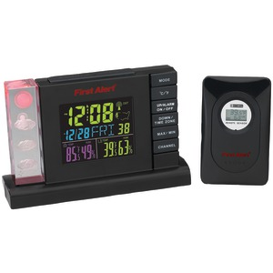 FIRST ALERT Radio-Controlled Weather Station Alarm Clock with Wireless Sensor SFA2650