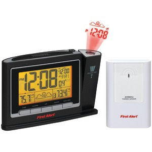 FIRST ALERT Radio-Controlled Weather Station Projection Clock Radio with Wireless Sensor SFA2800