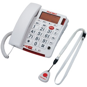FIRST ALERT Big Button Corded Telephone with Emergency Key & Remote Pendant SFA3800