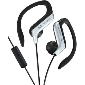 JVC Sport-Clip In-Ear Ear-Clip Headphones with Microphone & Remote (Silver) HAEBR80S